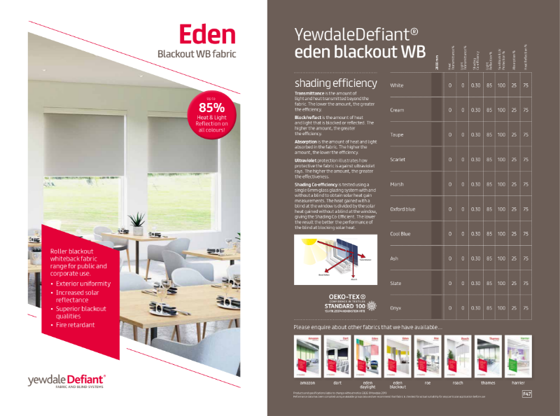 YewdaleDefiant® Eden blackout white backed fabric for blind systems