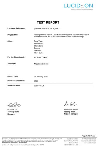 R-LOCKedge74 Test Report Steel