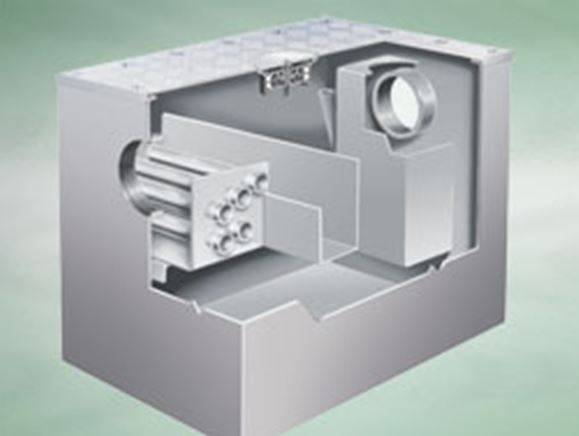 Actimatic grease converter, fully recessed at ground floor level