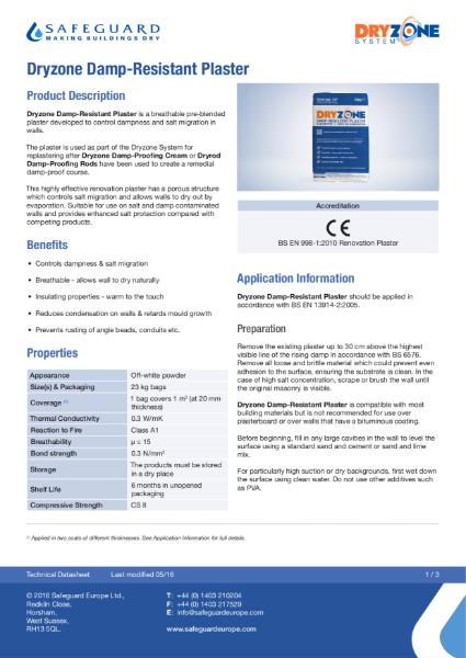 Dryzone Damp Resistant Plaster Data Sheet