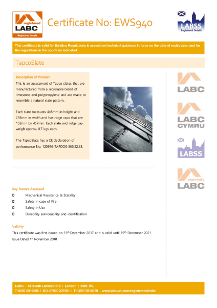 TapcoSlate Classic LABC/LABSS Registered Details Certificate