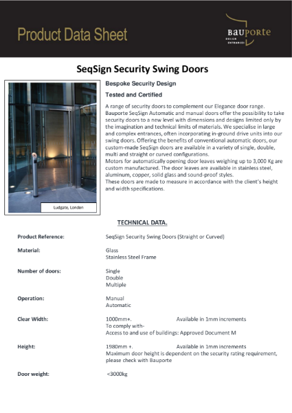 Bauporte SeqSign Security Swing Doors