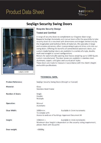 Bauporte SeqSign Security Swing Doors
