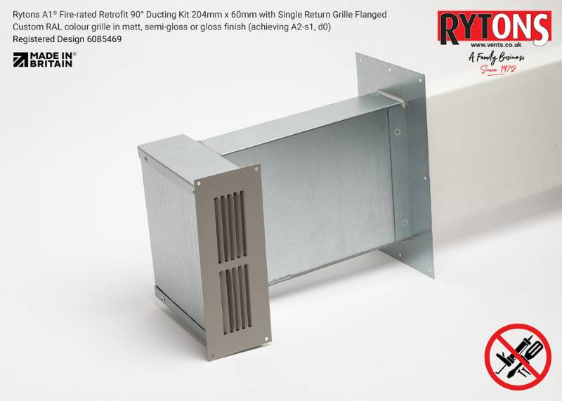 Rytons A1 Fire-rated Retrofit 90° Ducting Kit 204mm x 60mm with Single Air Brick Grille