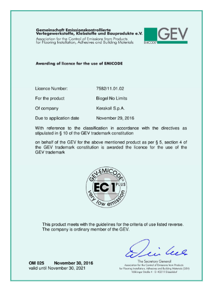 GEV EMICODE for BioGel No Limits adhesive
