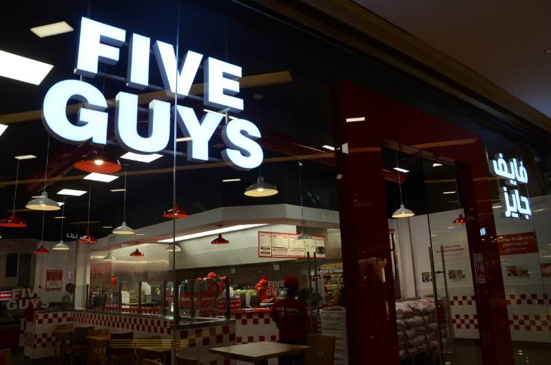 Five Guys Restaurant, Dubai Marina Mall. FireMaster Concertina multi-side fire curtain