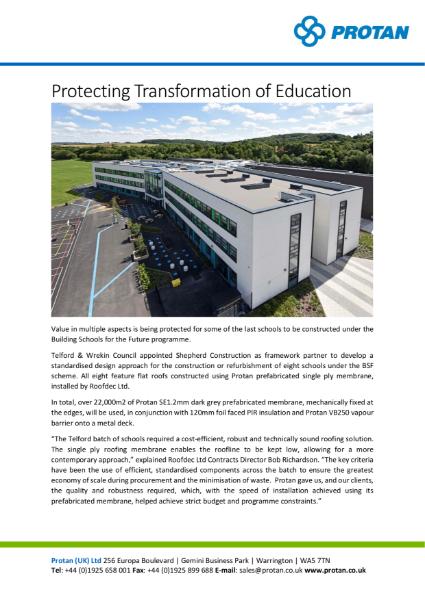 Telford Schools' Protan Prefabricated Systems