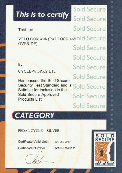 Sold Secure Certificate-Velo-Box locker-padlock