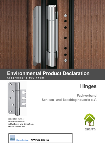 Environmental product declaration ISO 14025 hinges