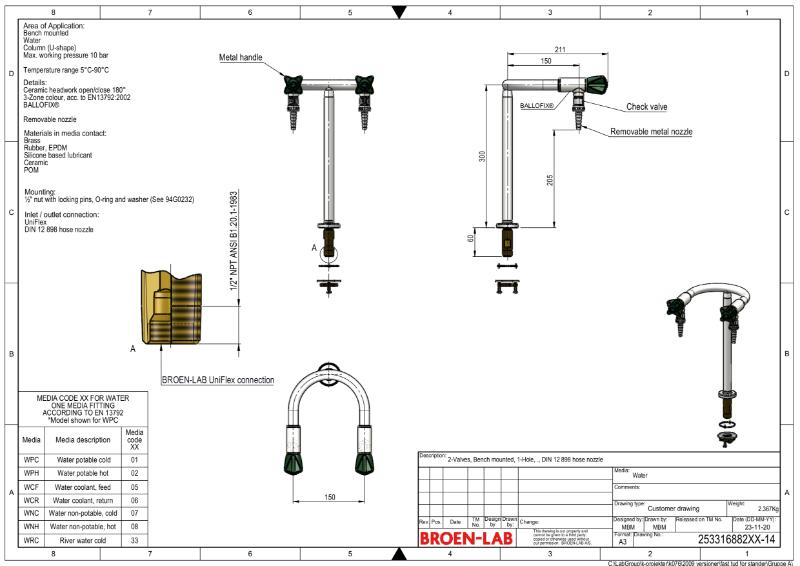 Table mounted laboratory two-way pillar water bib tap TDS