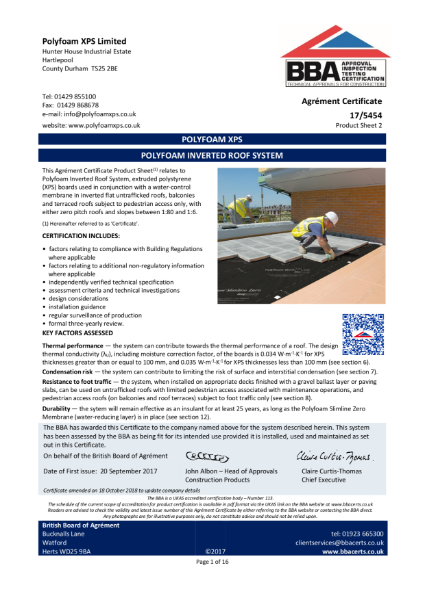 Polyfoam Inverted Roof System BBA Certificate