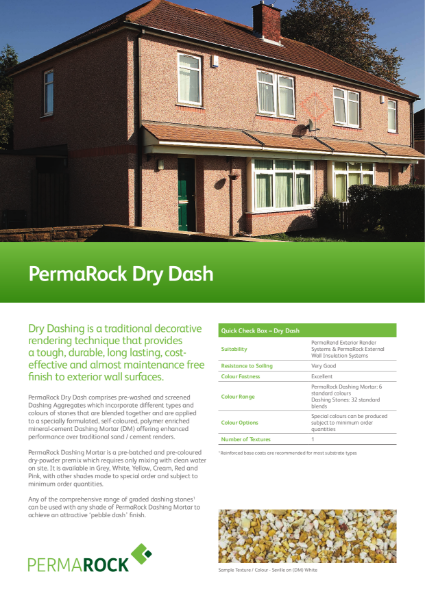 PermaRock Dry Dashing Aggregate / Stone (tough, durable, long lasting, cost-effective and almost maintenance render finish)