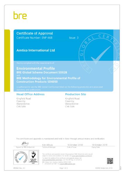 BREEAM ENP468 Certificate