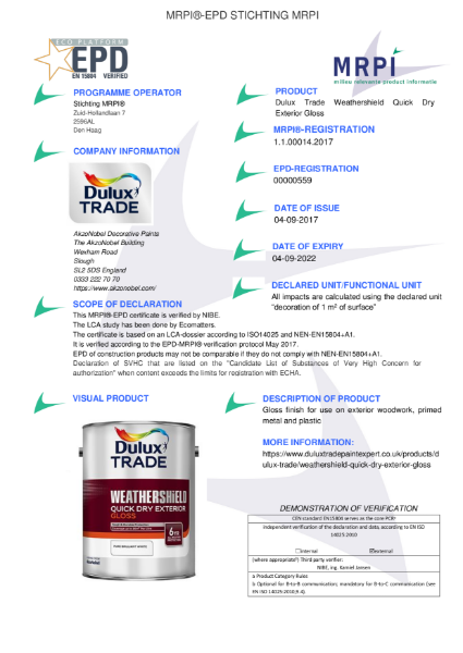 14 MRPI EPD Weathershield Quick Dry Exterior Gloss DEF