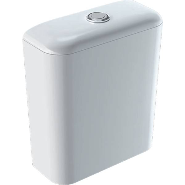 iCon exposed cistern, close-coupled, dual flush, bottom water supply connection