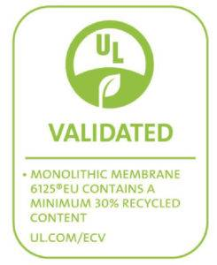 Hydrotech MM6125 hot mely waterproofing independently verified by underwriters laboratories - 30% recycled content.