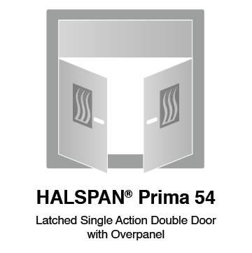 HALSPAN® Prima 54 mm Internal Fire Rated Door Blank - Latched Single Acting Double Doors With Overpanel