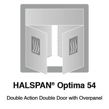 HALSPAN® Optima 54 mm Internal Fire Rated Door Blank - Double Acting Double Doors With Overpanel