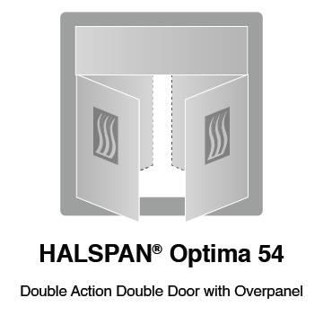 HALSPAN® Optima 54 mm Internal Fire Rated Door Blank - Double Acting Double Doors With Overpanel