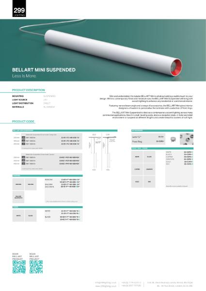 Bellart Mini Suspended Downlight Datasheet