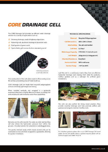 CORE DRAINAGE Cell Specification