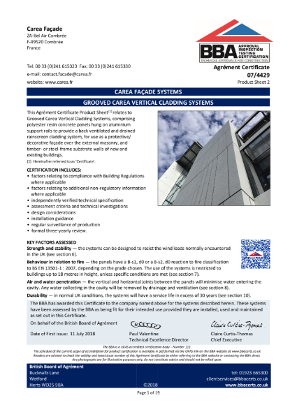 07/4429 Grooved Carea Vertical Cladding Systems