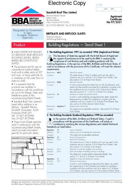 97/3351 Britslate/Britlock slates