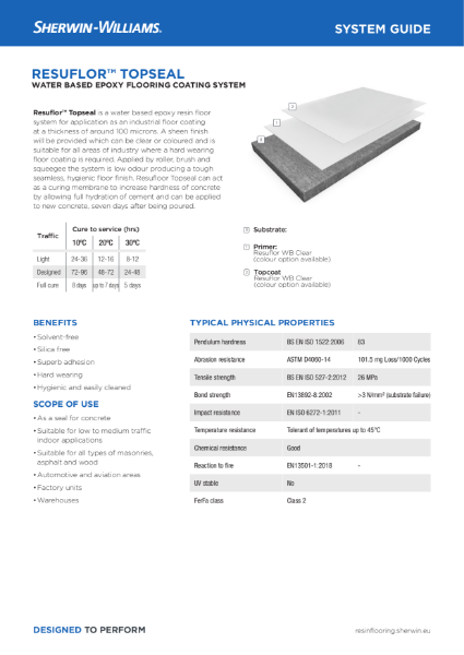 Resin flooring Resuflor Topseal coating system