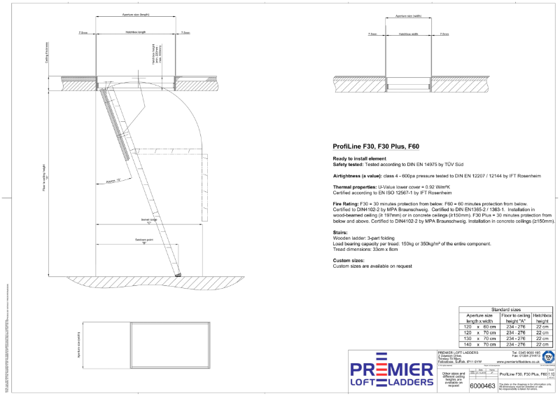 ProfiLine fire rated wooden loft hatch and ladder