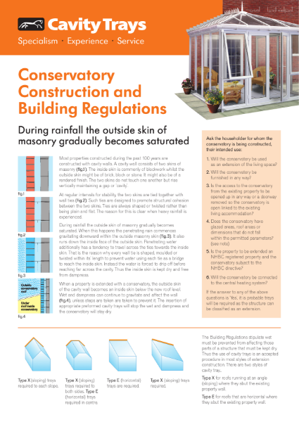 Conservatory construction and Building Regulations - Remedial Abutment Trays