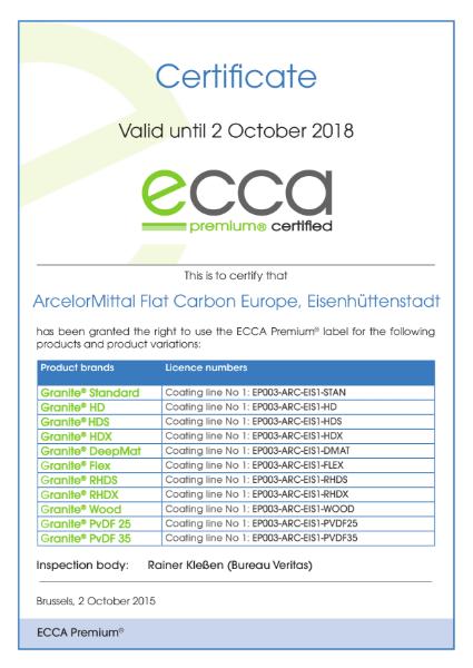 ECCA Premium - Certificate ArcelorMittal FCE Eisenhüttenstadt