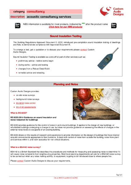 Acoustic Consultancy, Sound Insulation Testing, Noise at Work and Environmental Noise Assessments