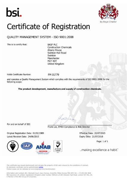 ISO 9001:2008 Certificate (Swinton)