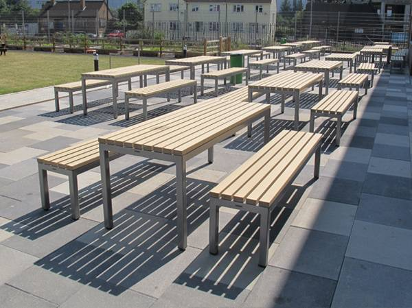 Parallel Picnic Benches and Table
