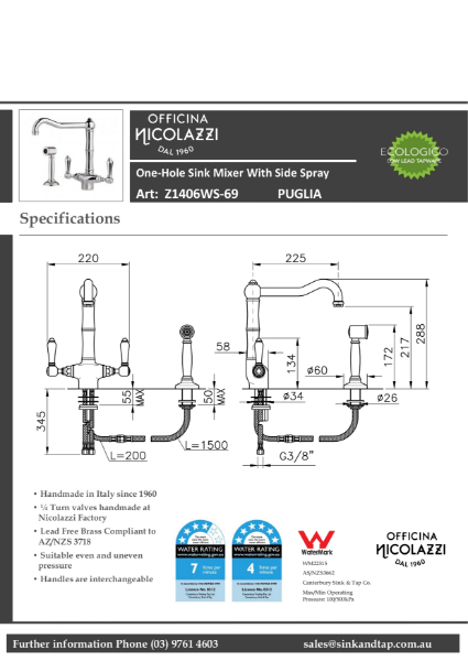 Z1406WS Puglia technical specification.