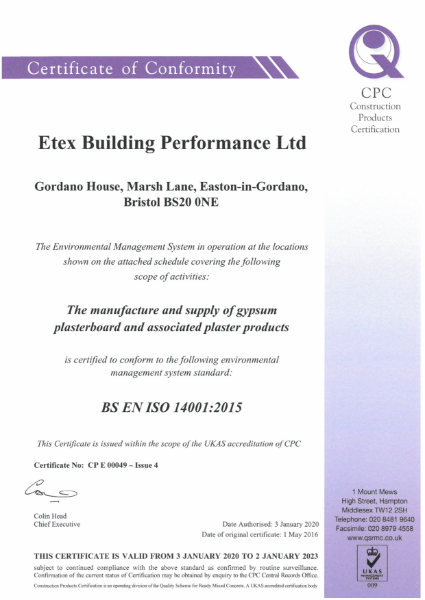 Etex ISO 14001 Certificate+Schedule 049 Issue 4