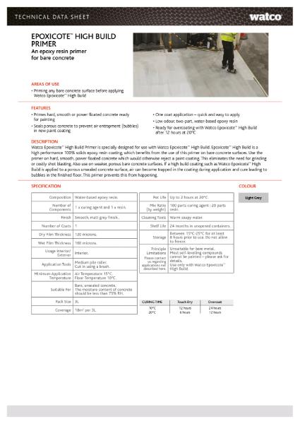 Data Sheet: Epoxicote High Build Primer
