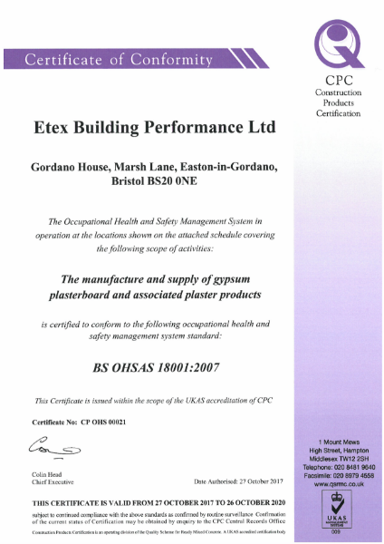 Etex Siniat Certificate of conformity OHSAH 180012007