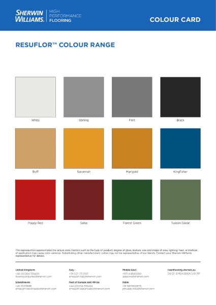 Resuflor Colour Chart - Epoxy coatings, self levellers and screeds