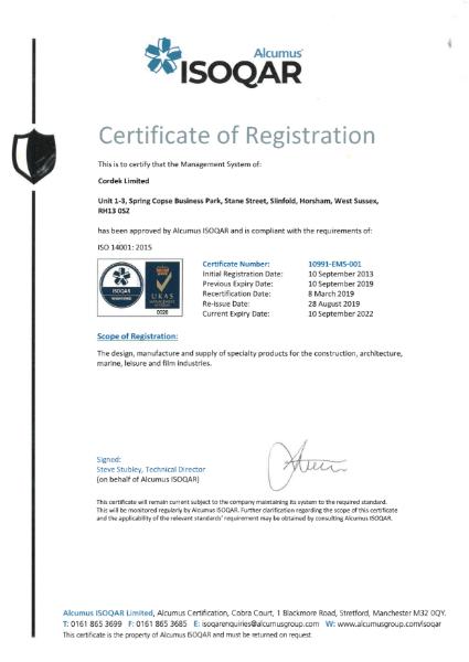 ISO 14001 Certificate - Cordek
