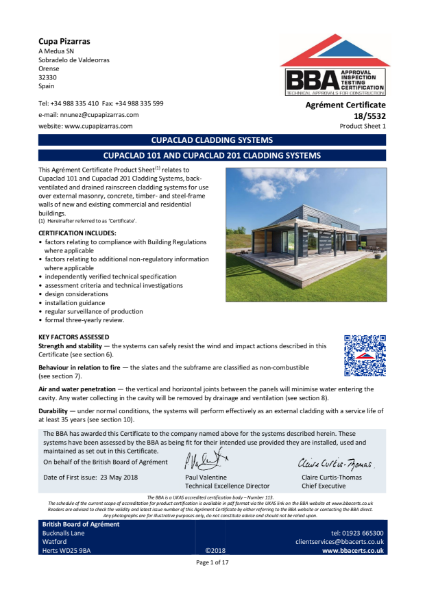 CUPACLAD 101 AND CUPACLAD 201 CLADDING SYSTEMS