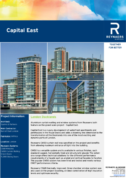 Case Study: Capital East, featuring CS 68 aluminium windows