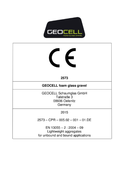 CE Mark - GEOCELL foam glass gravel
