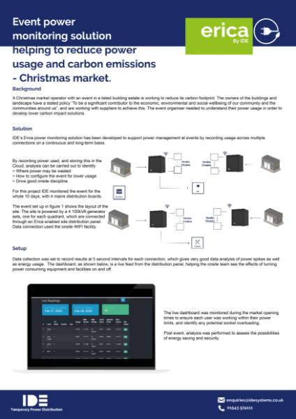 Event power monitoring solution helping to reduce power usage and carbon emissions – Christmas market.