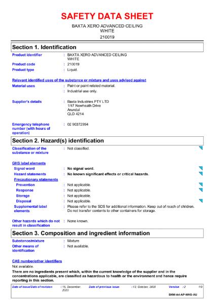 Baxta Xero Advanced Ceiling White Safety Data Sheet.