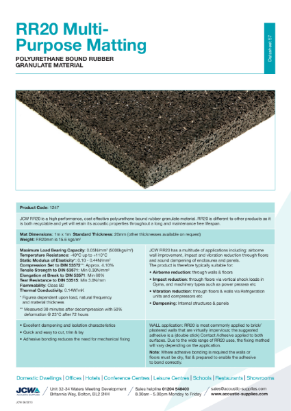 RR20 Multi Purpose Acoustic and Anti-Vibration Matting