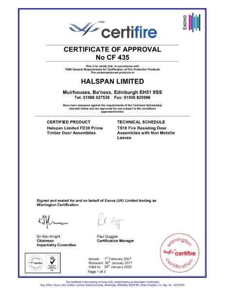 Halspan Prima 30 Certifire Certificate of Approval CF435