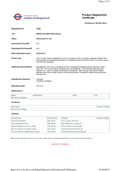 AATi certificate for product ref: SN9/55