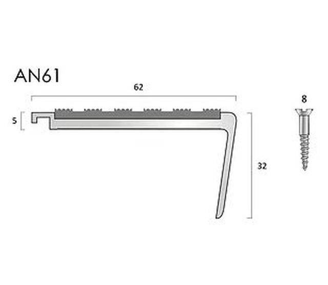 AN61 aluminium stair nosings