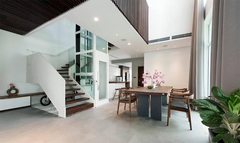 Home lift in luxury villa